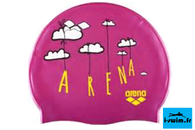Bonnet bain natation silicone junior arena print soof rose