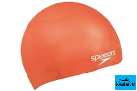 Bonnet bain natation silicone speedo plain moulded orange